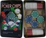 Чипове за покер 4 цвята по 25 бр. и 1 DEALER чип в метална кутия