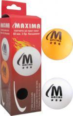 Топче за пингпонг (тенис на маса) MAXIMA 3* 40мм 3 броя в кутия безшевни