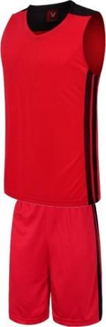 Екип за баскетбол, потник с шорти - червен с черно