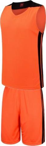 Екип за баскетбол, потник с шорти - неоново оранжев с черно