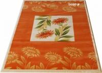 Гладък машинен килим в оранжево с цветя
