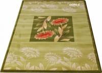 Машинен гладък килим в зелено с цветя