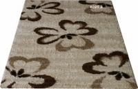 Машинен гладък килим с цветя в бежово