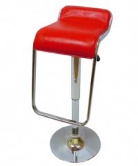Червен кожен бар стол без облегалка