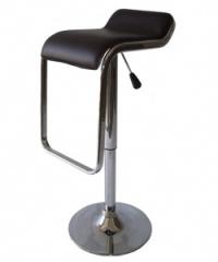 Черен кожен бар стол без облегалка