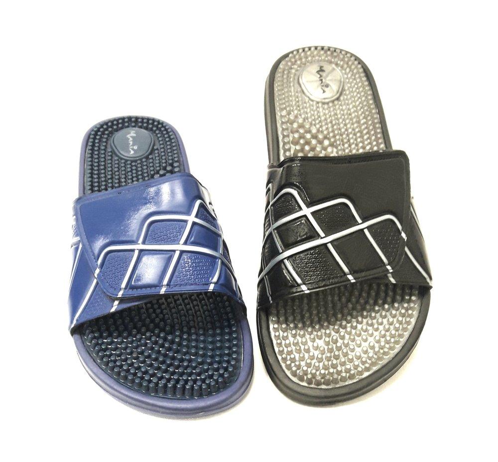 Мъжки чехли с бодли и лепенка в синьо и черно.