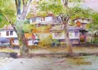 Авторска картина живопис Стари къщи
