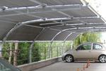 изработка на навес от метал с опъната плътна мрежа за много автомобили