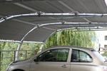 изработка на навес от метал с опъната плътна мрежа за 1 автомобил