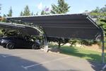 изработка по поръчка на метален навес за два автомобила с покриваща плътна мрежа
